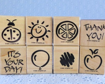 Fanciful Favorites Stamps, Stampin Up, Set of Eight, Small Wood Mounted Rubber Stamps, Thank You, Balloon, Sun, Apple, Orange Slice, Ladybug