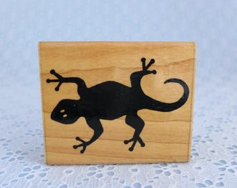 Gecko Rubber Stamp, by JRL Design N271, Lizard Rubber Stamp, Wood Mounted, Paper Crafts, Card Tag Making
