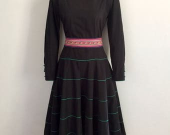 PRUE ACTON!!! Striking 1980s 'Prue Acton' long sleeved, black cotton dress with banded skirt and green piping details