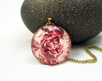 Pink Rose Round Glass Pendant Necklace