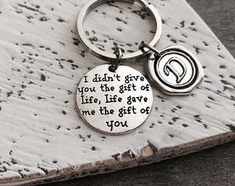 SALE, I Didn't Give You The Gift Of Life, Life Gave Me The Gift Of You, Baby Adoption, new mom adoption, Silver Keychain, Silver Keyring