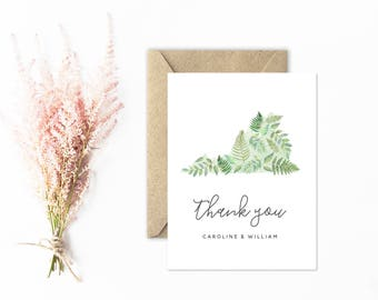 Virginia Thank You Cards, Watercolor Ferns