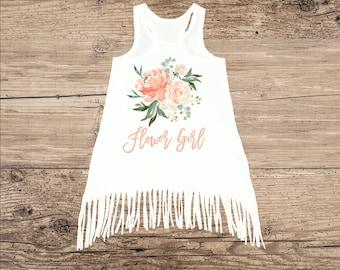 Flower Girl Dress, Cute Watercolor Flowers with Fringe