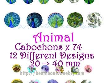 Digital Collage  Animals 2 Sheets 74images 20, 30, 40 mm Cabochon Bottlecap Pendant Magnet Topper  Printable Image clipart Download