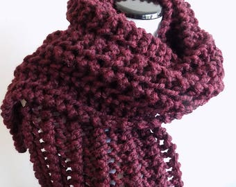 Hand Knit Claret Color Scarf - Knitted Burgundy Scarf - Chunky Lacey Knit Wide Garnet Scarf ~ Hand Knit Warm Winter Wool Blend Scarf