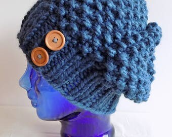 Slouchy Knit Hat - Womens Winter Hat with Buttons - Chunky Knit Hat - Denim Blue Knitted Hat - Blue Slouch Hat - Blue Hat