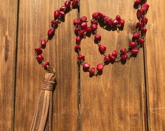 Coral and Leather Tassel Necklace