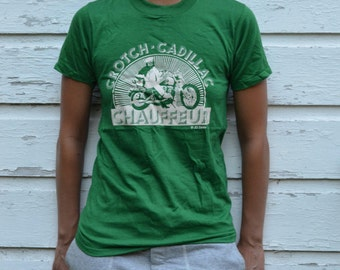 80s Vintage Biker T-Shirt, Funny Harley Motorcycle Rally Crotch Cadillac Chauffeur Print on Green