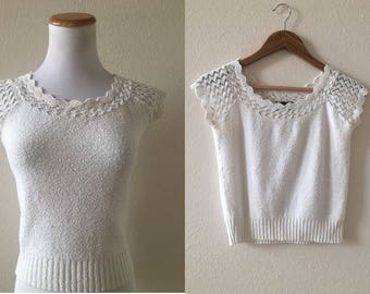 vintage 80's WHITE CROP TOP sweater - extra small, small