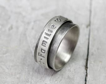 Ring silver ring Celtic with desired text 925 silver ring, ring with engraving, 11 mm wide, blackened, personalized, ring