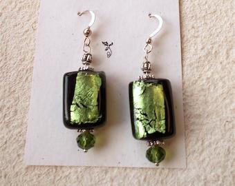 green foil earrings, green earrings, foil drop earrings, drop earrings, elegant green earrings, green dangle earrings, silver, glass, gift