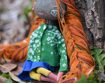Pixie elf doll - Woodland  girl - Handmade doll - Textile toy - Halloween doll- Exrime primitive - Embroidered fabric - Fantasy doll.