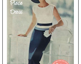 1950s Two Piece Wiggle Dress Knitting Pattern - PDF Instant Download