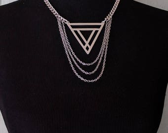 The Mini Maat Choker Necklace - Silver Triangle with Chains Geometric Witchy Goth Avant Garde High Fashion Occult Unique Gift Statement