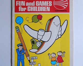 "8 1/4"" x 11"" Continental Airlines Childrens Game Coloring Book 5th Edition 1977"
