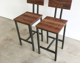 Pair of Rustic Bar Stools made from Reclaimed Barn Wood // Industrial Steel Frame // IN STOCK!