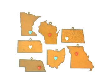 Midwest States With Heart Magnet Rusty Metal Ornament Assortment