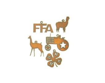 Farm Themed Rusty Metal Pendant/Charm Assortment