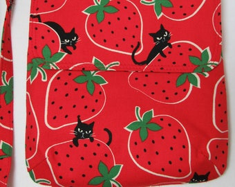 Cross Body Purse with Flap & Removable Strap in Fun Red Cat / Strawberry Fabric - One of a Kind! Satchel, Shoulder Bag, Kitty, Japanese