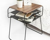 Iron and Wood Bedside Table / Nightstand