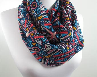 Tribal Scarf Infinity Scarf Fall Winter Women Blue Circle Scarf Southwestern Native Loop Scarf Winter Accessories 42