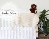 "Crochet Ribbed Toddler Blanket Pattern // Baby Blanket // Crochet Pattern // Knit Baby Blanket // 37"" by 52"" // Simply Maggie"