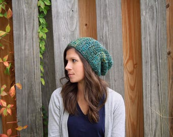Men's or Women's Soft Alpaca Chunky Slouch Hat - Peacock Mix