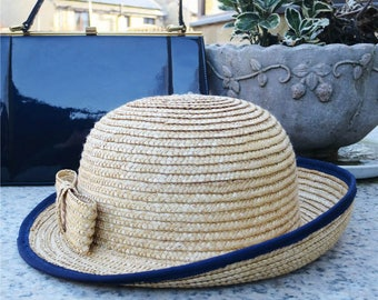 Vintage Ladies Straw Hat With Bow