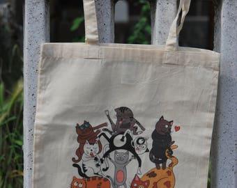 Borsa shopper cotone con illustrazione gatti