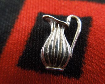 Sterling Pitcher Charm Figural Water Jug Wine Pitcher Charm Sterling Silver Charm for Bracelet from Charmhuntress 04722