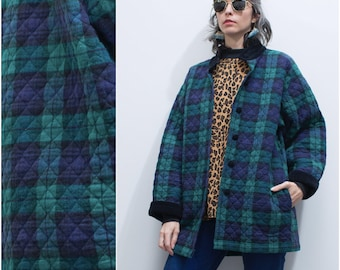 1980s 90s Quilted Plaid Flannel Jacket // Blackwatch Plaid Navy Green Liner Coat sz L / XL