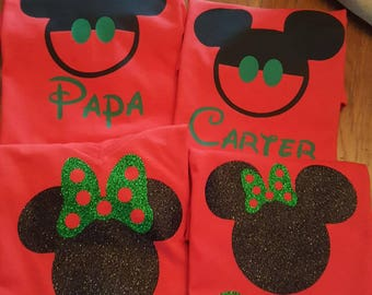 Disney Christmas Shirts/Disney Shirts/Christmas Family Shirts/ Custom Disney Shirts/Mickey Mouse/Minnie Mouse Inspired w/ Glitter