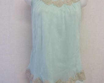 Mad Men Nightgown Baby Doll 1960 Nightgown Aqua Nylon Short Nightgown