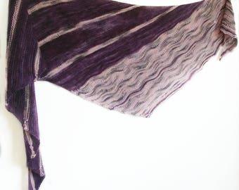 Purple Asymmetrical Shawl - Purple and Pink Shawl - Purple Shoulder Wrap - Striped Knit Shawl - Knit Shawl - Purple and Pink Striped Shawl