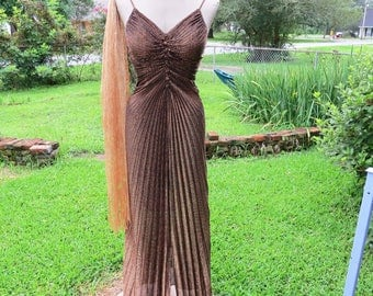 Vintage Gold Metallic Old Hollywood Style Dress |  Disco Dress by New Leaf by Samir Size SMALL with bonus long gold scarf