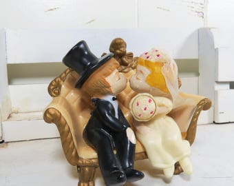 Vintage Bride and Groom Wedding Cake Topper Wilton 1970 Cake Top made in Hong Kong