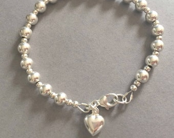 Heart Charm Silver Bead Bracelet, Sterling Silver Ball Bracelet, 6mm Bead Bracelet, Bridal Jewellery, Bridesmaid Gift, Silver Heart Charm,