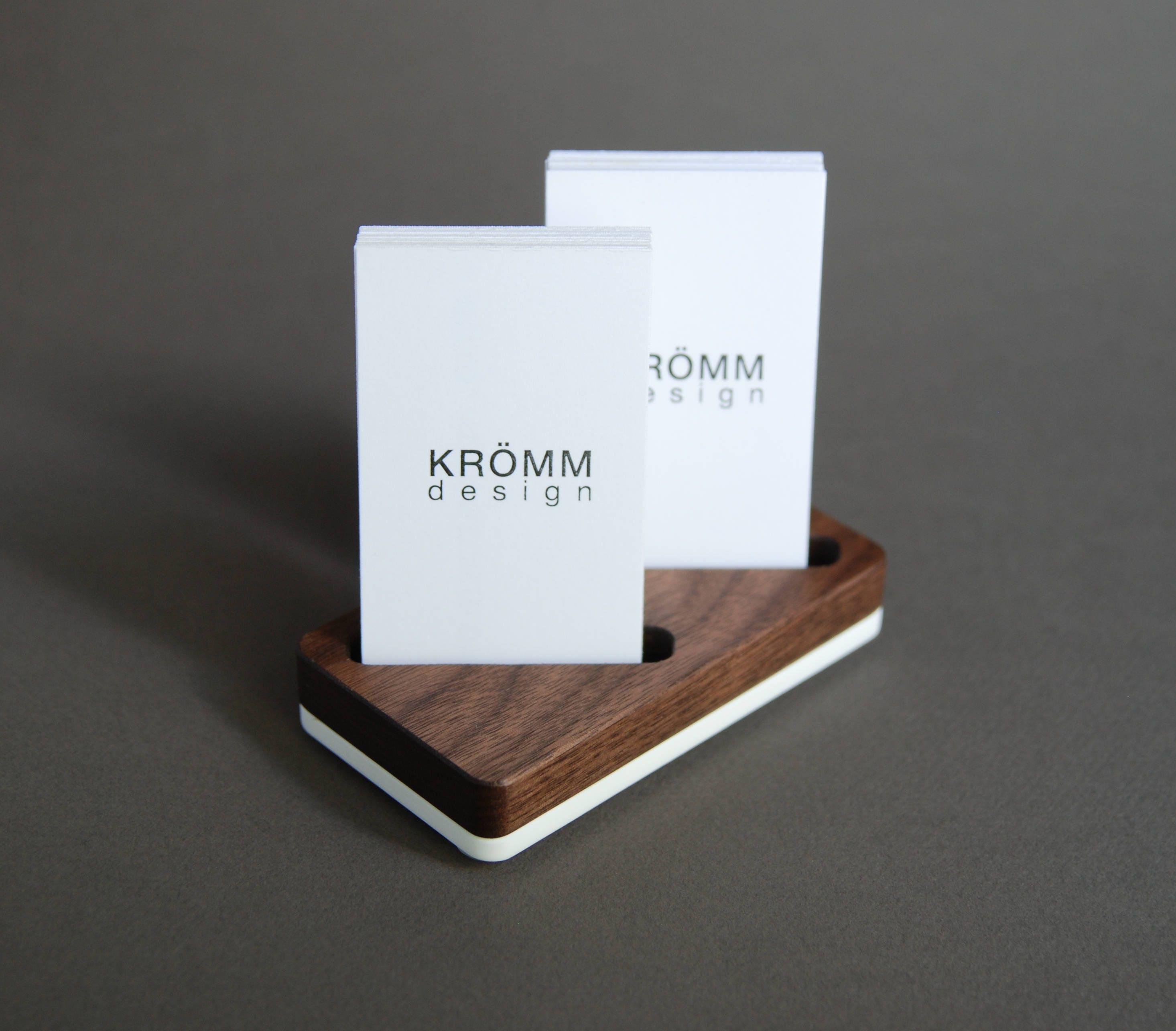 Wood Two-Card Stand for Vertical Business Cards or MOO cards ...