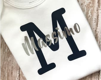 Personalized Baby Gift, Infant Initial and Name Bodysuit, Hospital Coming Home Outfit, Custom Initial and Name Onesie, Newborn Boy or Girl