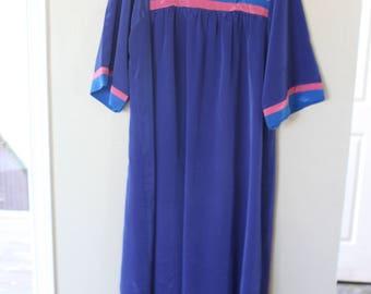 vintage blue pink stripe mumu tunic caftan house dress