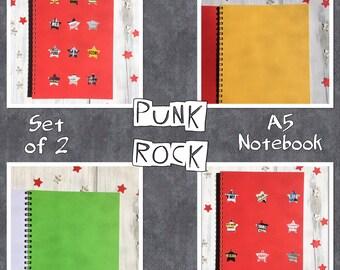 PUNK ROCK | Notebooks | Set Of 2 | Blank Books | Punk Stars | | Notepads | Gift Idea | Back to School | Office Journal