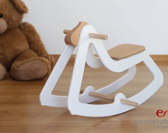Design Rocking Horse, Christmas Gift, Modern Wooden Toy for Kids, Boys, Girls, Eco Friendly Toy, C03 White