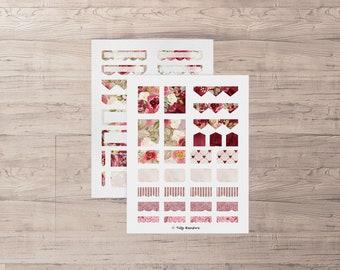 Bullet journal stickers. Instant download for your bullet journal, planner or scrapbook. Vintage roses, floral pattern.  Bujo ideas