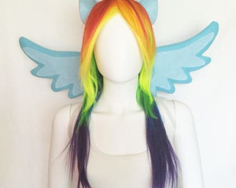 Rainbow Dash Costume with wings, wig and ears, Rainbow Dash cosplay, Rainbow Dash costume