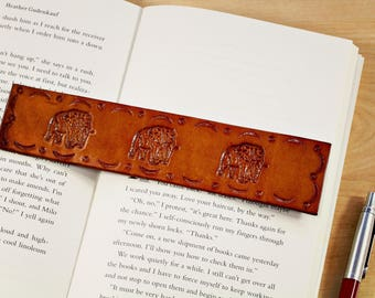 Elephant Bookmark Hand Tooled Leather Bookmarks Unique Elephant Gift Anniversary Gift For Dad Animal Lovers Elephant Lover Gift Father Gift