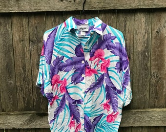 Pink Purple Teal Hawaiian Tropical Button Up Shirt - By Krash