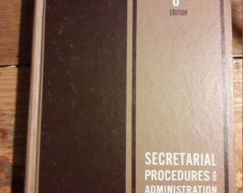 1968 Secretarial Procedures and Administration - Decorative 1960's Books for Home Decorating - Old Collectible Dictionary Reference Books