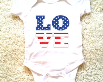 4th of July American flag Love graphic for babies, newborn, 6 months, 12 months, 18 months funny graphic baby onesie