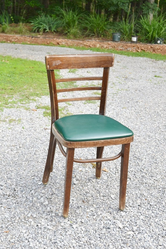 Vintage Bentwood Chair Upholstered Green Vinyl Seat Desk