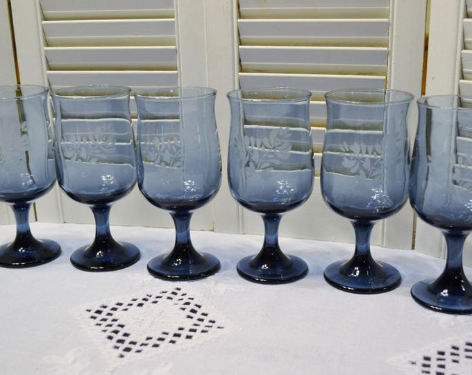 Vintage Pfaltzgraff Yorktowne Wine Water Glass Goblet Set of 6 Blue Glassware Stemware Replacement PanchosPorch
